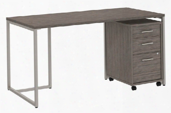 "60""w Table Desk With 3 Drawer Mobile File Cabinet By Bush"
