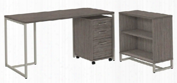 "60""w Table Desk With Bookcase And Mobile File Cabinet By Bush"