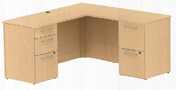 "60""w X 22""d L Shaped Office Desk With 2 And 3 Drawer Pedestals And Return By Bush"