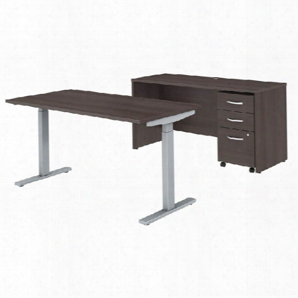 "60""w X 30""d Height Adjustable Standing Desk, Credenza And Mobile File Cabinet By Bush"