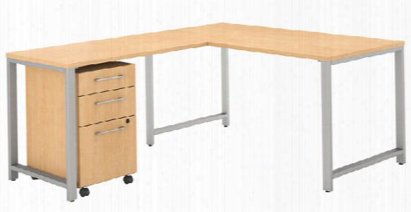 """60""""w X 30""""d L Shaped Desk With 42""""w Return And 3 Drawer Mobile File Cabinet By Bush"""