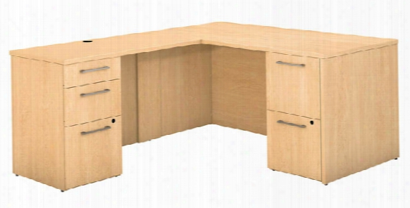 "60""w X 30""d L Shaped Office Desk With 2 And 3 Drawer Pedestals And Return By Bush"