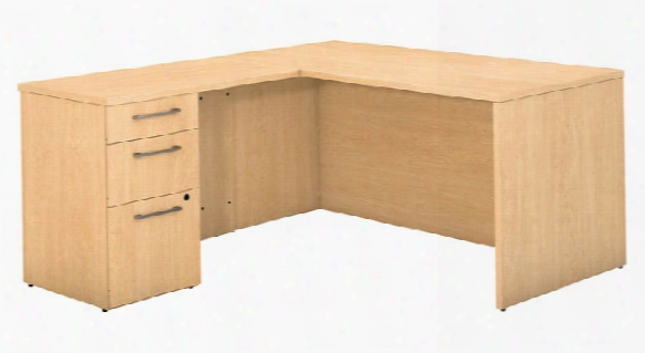 "60""w X 30""d L Shaped Office  Desk With 3 Drawer Pedestal And Return By Bush"