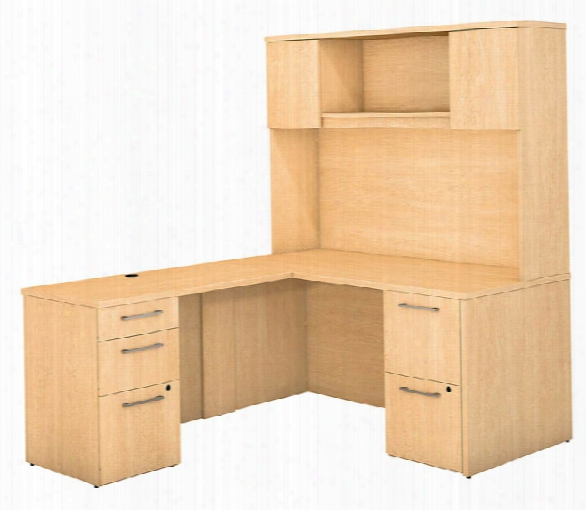 """60""""w X 30""""d L Shaped Office Desk With Hutch, 2 Pedestals And Return By Bush"""