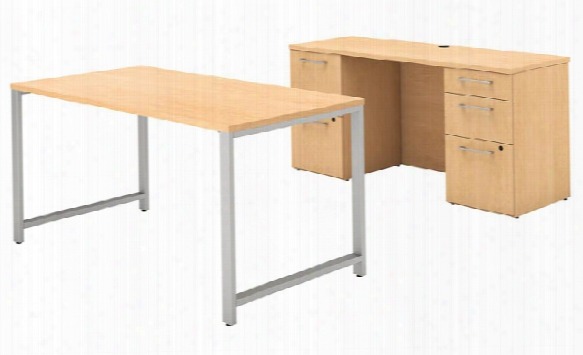 "60""w X 30""d Table Desk And Credenza With File Drawers By Bush"