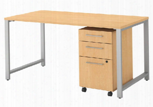 "60""w X 30""d Table Desk With 3 Drawer Mobile File Cabinet By Bush"