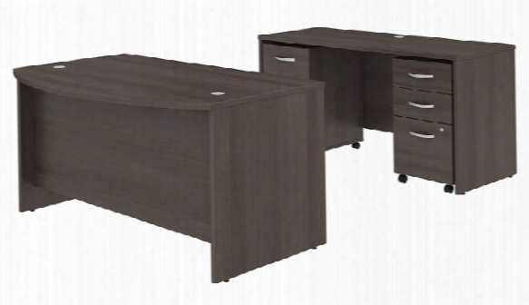 "60""w X 36""d Bow Front Desk And Credenza With Mobile File Cabinets By Bush"