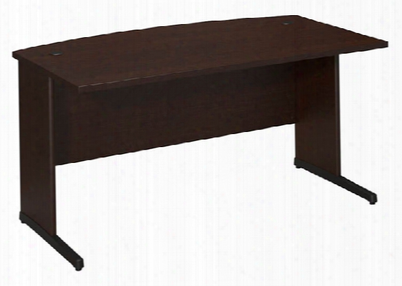 "60""w X 36""d C-leg Bow Front Desk By Bush"