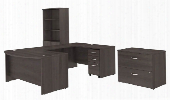 "60""w X 36""d U Shaped Desk With Bookcase And File Cabinets By Bush"