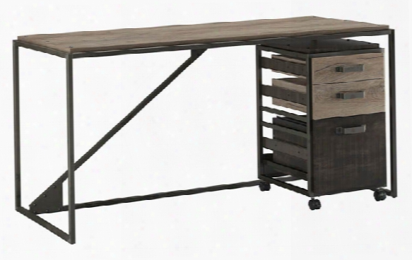 "62""w Industrial Desk With 3 Drawer Mobile File Cabinet By Bush"