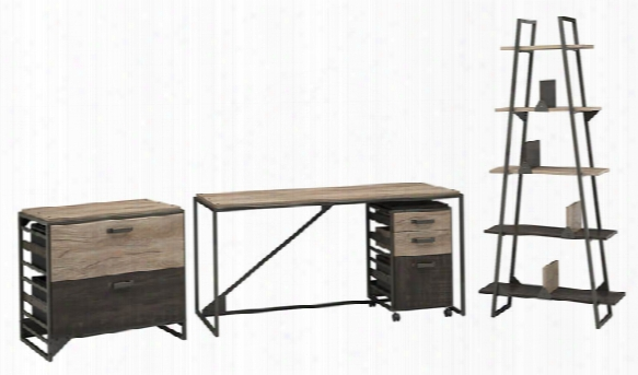 "62""w Industrial Desk With A-frame Bookshelf And File Cabinets By Bush"