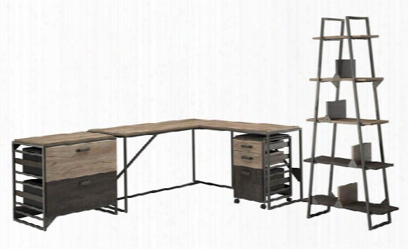 """62""""w L Shaped Desk With 37""""w Return, Bookshelf And File Cabinets By Bush"""