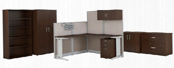 "65""w X 65""d L-shaped Cubicle Workstation With Storage And Filing Cabinets By Bush"