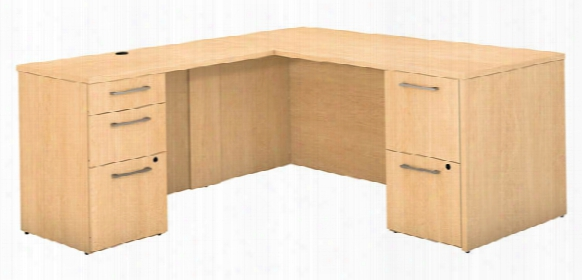 "66""w X 30""d L Shaped Office Desk With 2 And 3 Drawer Pedestals And Return By Bush"