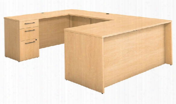 """66""""w X 30""""d U Shaped Office Desk With 2 And 3 Drawer Pedestals And Bridge By Bush"""