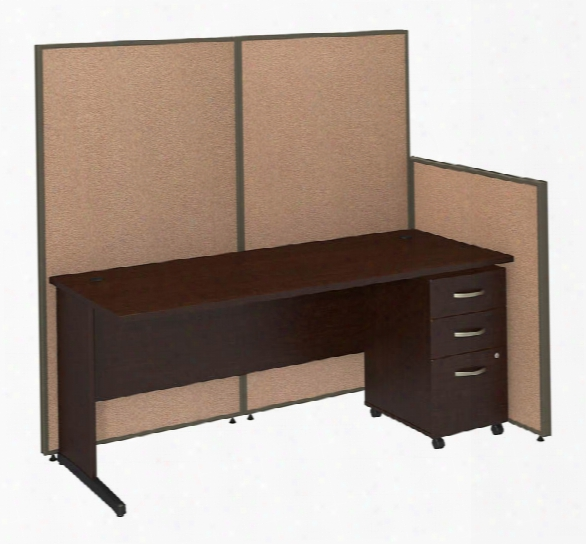 "72""w C-leg Desk And 3 Drawer Mobile Pedestal With Propanels By Bush"