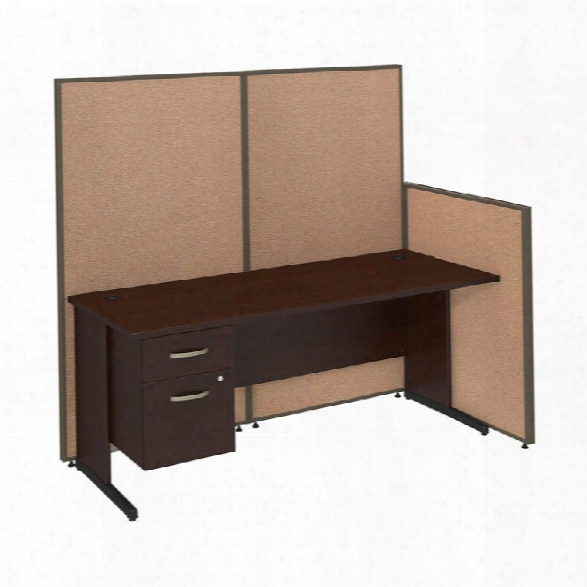 "72""w C-leg Desk With 3/4 Pedestal And Propanels By Bush"