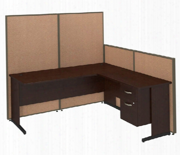 "72""w C-leg L-desk With 3/4 Pedestal And Propanels By Bush"