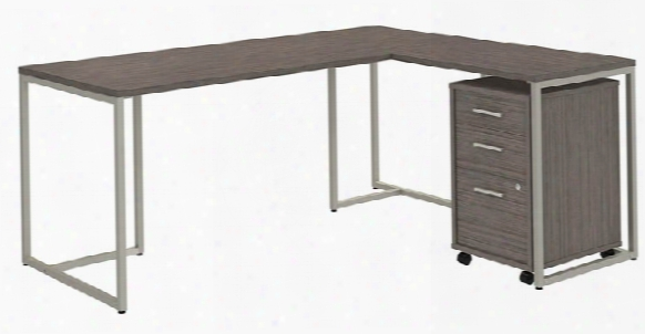 """72""""w L Shaped Desk With 30""""w Return And Mobile File Cabinet By Bush"""
