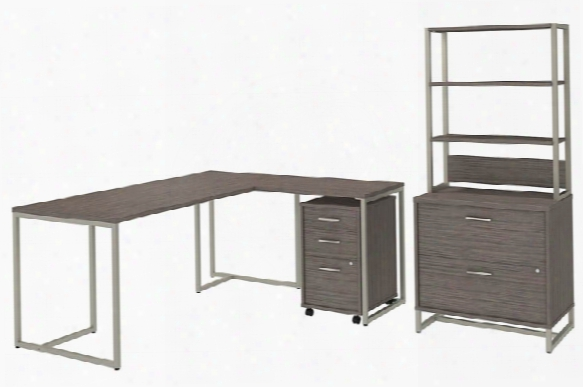 """72""""w L Shaped Desk With 30""""w Return, File Cabinets And Hutch By Bush"""