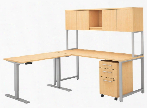 "72""w L Shaped Desk With Height Adjustable Return, Hutch And Storage By Bush"