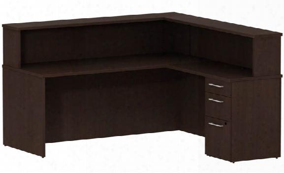"72""w Reception L Desk With 3 Drawer Pedestal By Bush"