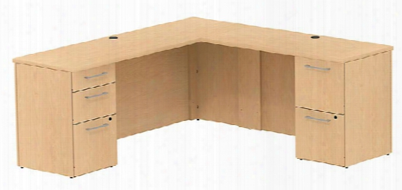 """72""""w X 22""""d L Shaped Office Desk With 2 And 3 Drawer Pedestals And Return By Bush"""