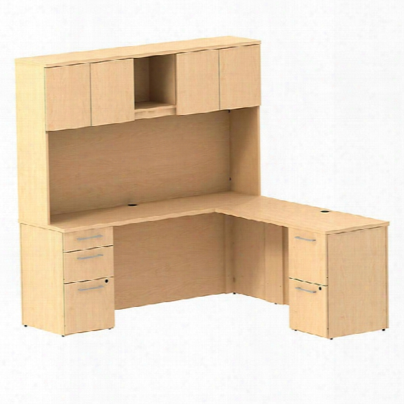 """72""""w X 22""""d L Shaped Office Desk With Hutch, 2 Pedestals And Return By Bush"""