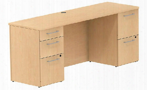 "72""w X 22""d Office Desk With 2 And 3 Drawer Pedestals By Bush"