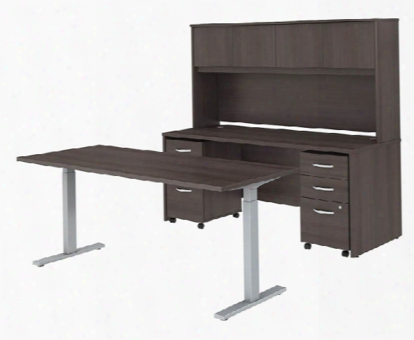 "72""w X 30""d Height Adjustable Standing Desk, Credenza With Hutch And Mobole File Cabinets By Bush"