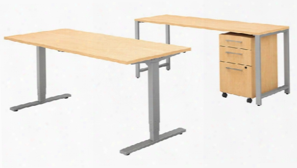 "72""w X 30""d Height Adjustable Standing Desk With Credenza And Storage By Bush"