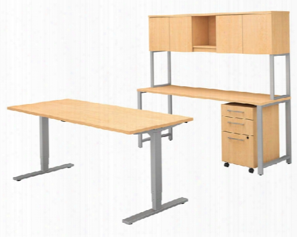"72""w X 30""d Height Adjustable Standing Desk With Credenza, Hutch And Storage By Bush"