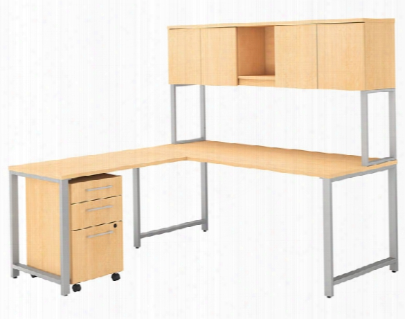"72""w X 30""d L Shaped Desk With Hutch, 42""w Return And 3 Drawer Mobile File Cabinet By Bush"