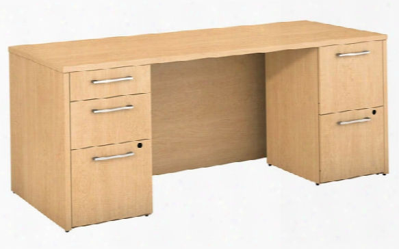 "72""w X 30""d Office Desk With 2 And 3 Drawer Pedestals By Bush"