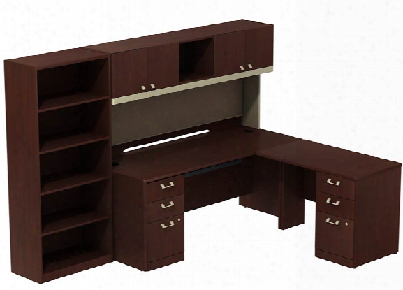 "72""w X 30""d Right Hand L Station With Hutch, Two 3 Drawer Pedestals And 5-shelf Bookcase By Bush"