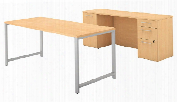 """72""""w X 30""""d Table Desk And Credenza With File Drawers By Bush"""