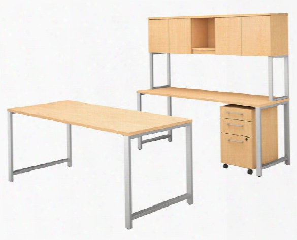 """72""""w X 30""""d Table Desk With Credenza, Hutch And 3 Drawer Mobile File Cabinet By Bush"""
