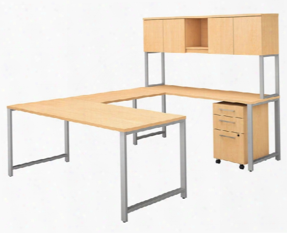 "72""w X 30""d U Shaped Table Desk With Hutch And 3 Drawer Mobile File Cabinet By Bush"