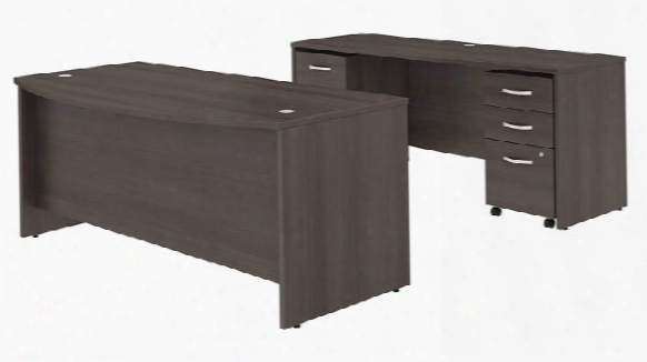 "72""w X 36""d Bow Front Desk And Credenza With Mobile File Cabinets By Bush"