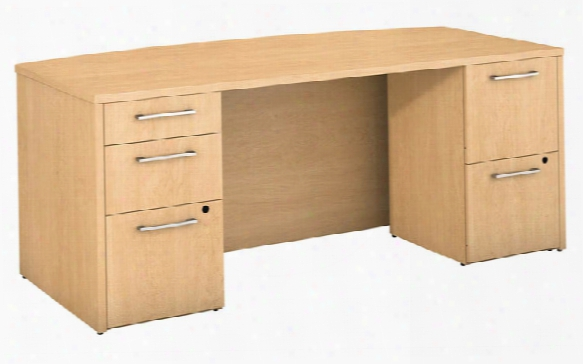 "72""w X 36""d Bow Front Desk With 2 And 3 Drawer Pedestals By Bush"