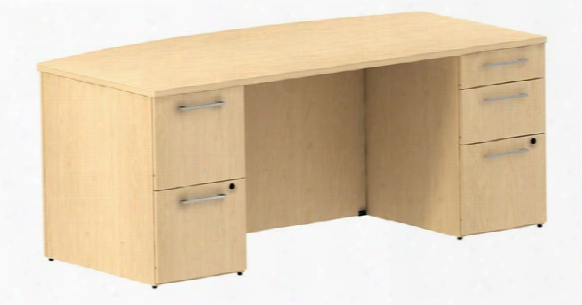 "72""w X 36""d Bow Front/breakfront Desk With 2 And 3 Drawer Pedestals By Bush"