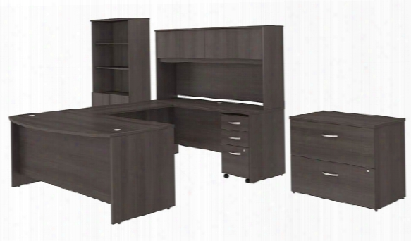 "72""w X 36""d U Shaped Desk With Hutch, Bookcase And File Cabinets By Bush"