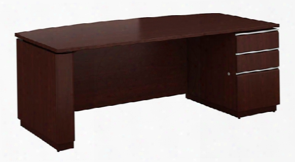 "72""w X 36""w Right-handed Single Pedestal Bow Front Desk By Bush"