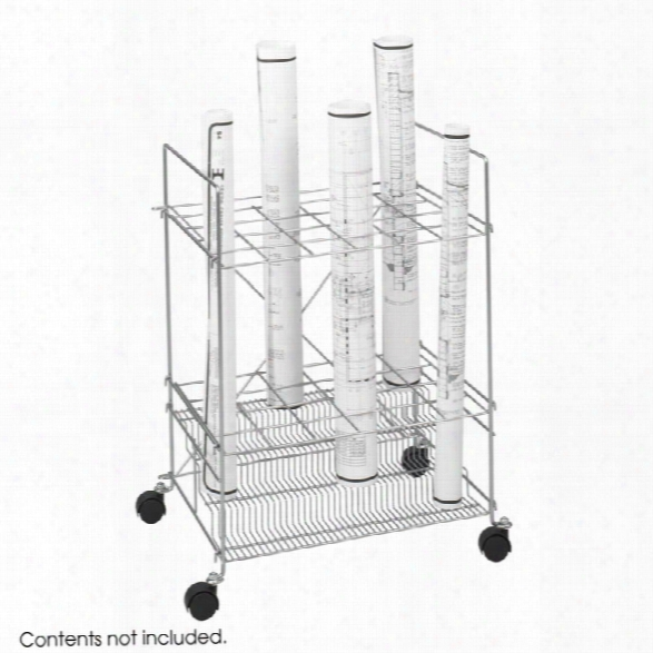 Chrome Wire Roll File, 24 Compaartment Yb Safco Office Furniture