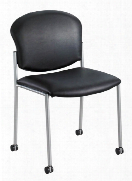 "Diazâ""¢ Guest Chair - Black Vinyl By Safco Office Furniture"