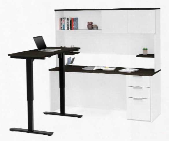 Height Adjustable L-desk With Hutch By Bestar