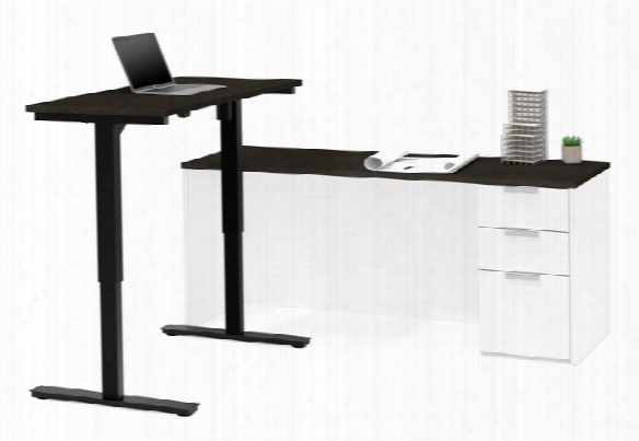 Height Adjustable L-shaped Desk By Bestar