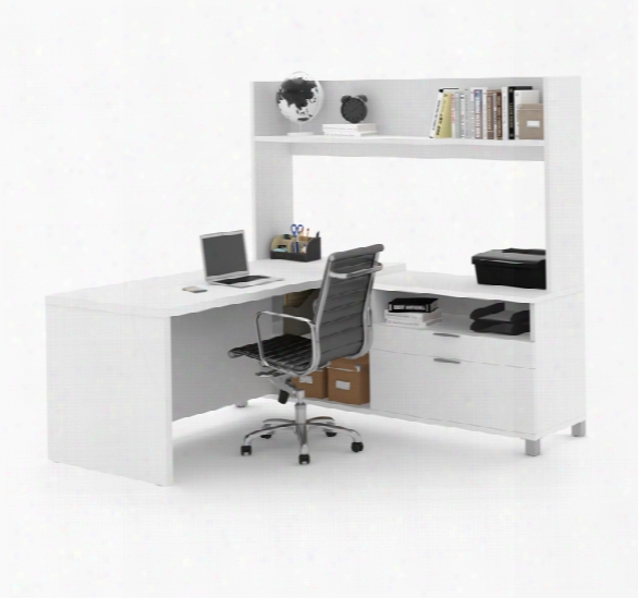 L-desk With Open Hutch By Bestar