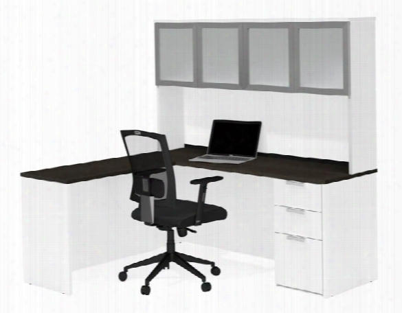 L-shaped Desk With Frosted Glass Door Hutch By Bestar