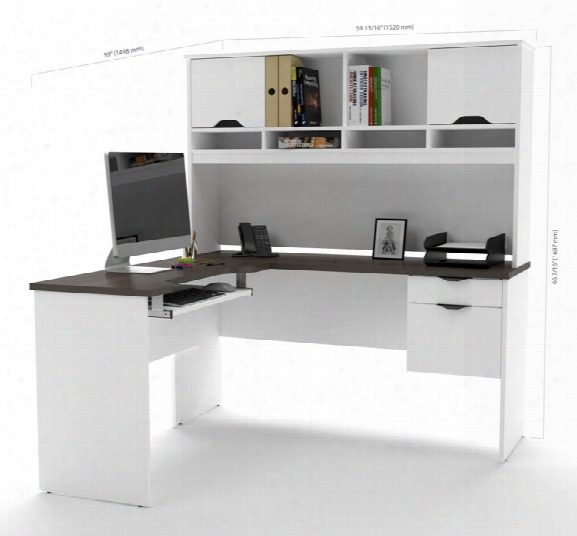 L Shaped Desk With Lateral File & Bookcase By Bestar